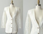 vintage lace blazer / sheer cream lace coat  / size medium