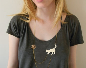Cat playing necklace, animal lover jewelry, statement necklace -  White (ivory) cat playing with wool, acrylic silhouette pendant of a cat.