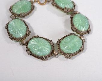Vintage 1930s Glass Link Bracelet - Pate De Verre - Bridal Wedding Fashions