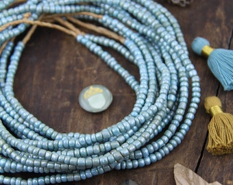 Airy Blue Sparkle Goomba Beads, Ghana Glass Rondelle Tube Spacer Beads, Asstd Sizes 4x3mm, Jewelry Making Supply, Fall Fashion