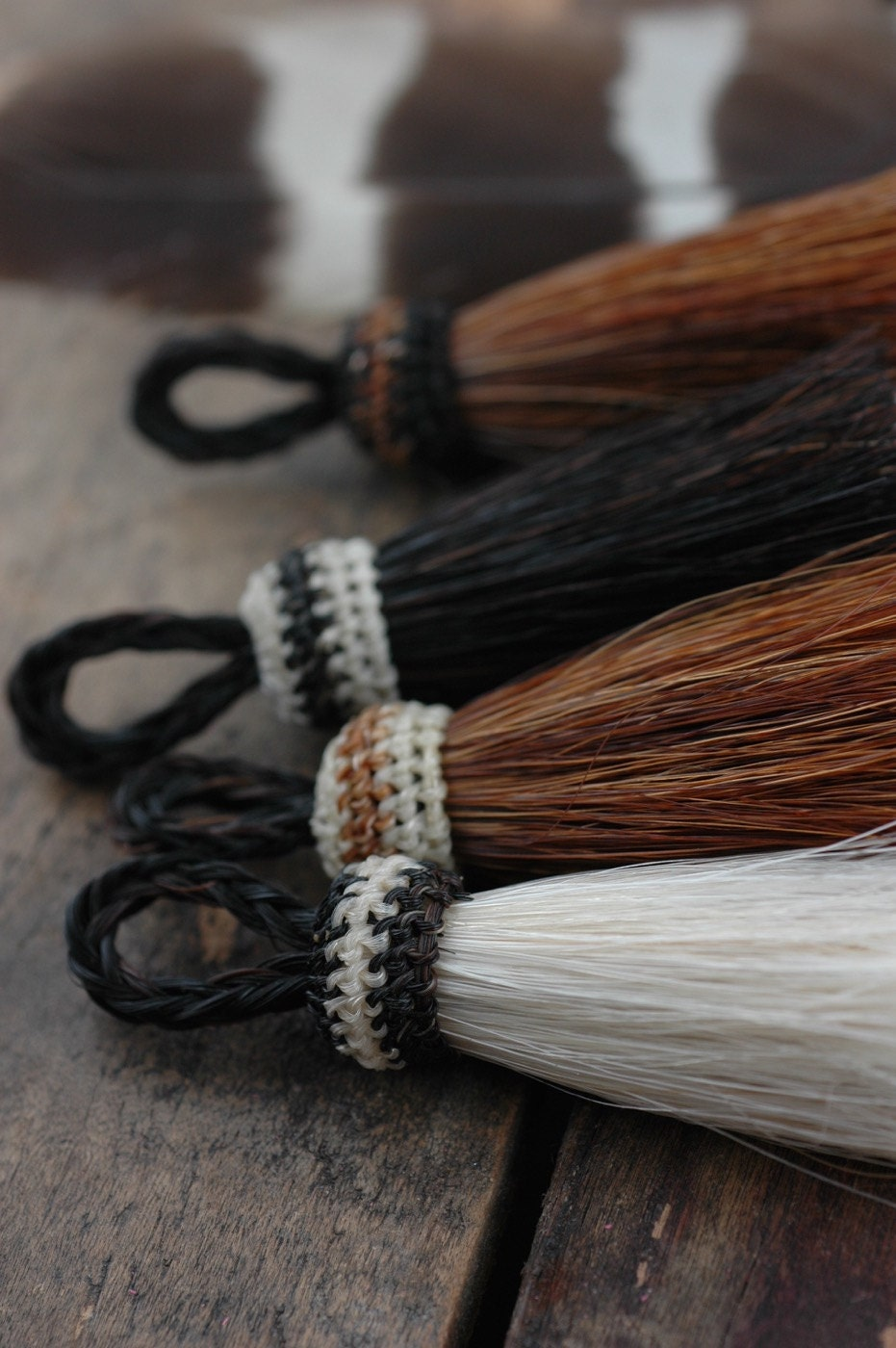 Double Stack Horse Hair Tassels Handmade Natural Colors