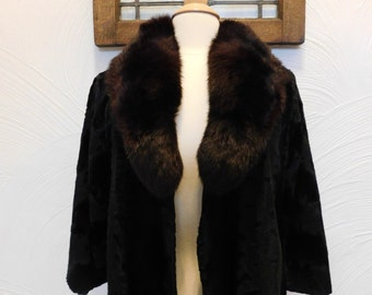 Vintage Fur Coat Black and Brown Fur Jacket - M / L