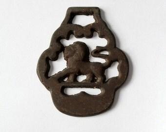 SALE harness chest piece, antique brass equestrian fixture, lion emblem