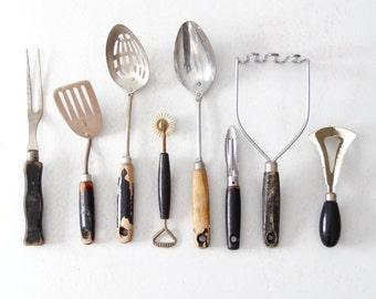 collection kitchen utensils, vintage rustic black kitchen decor
