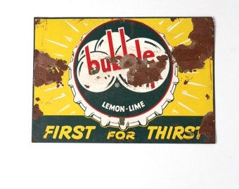 vintage Bubble Up advertising sign, metal signage