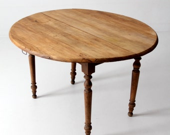 antique French drop leaf table, country wood table