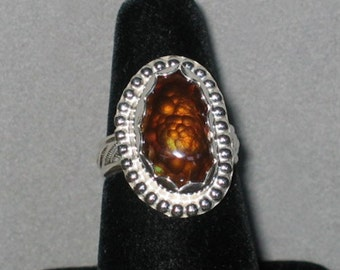 Fire Agate in Sterling Silver Ring, Size 7 1/2