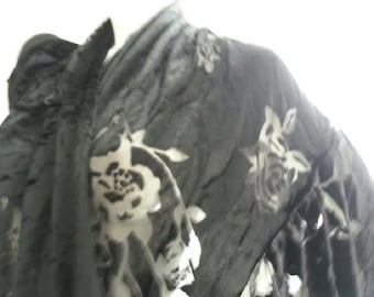Black Burnout ruffled shawl hand made in USA