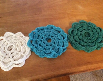 Flower Doily Coasters set of 6
