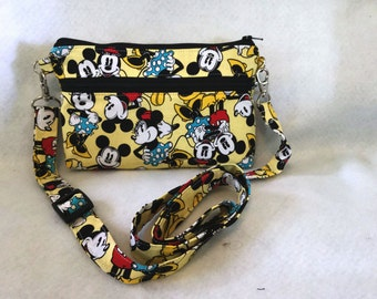 Mickey Mouse and Minnie Mouse//Disney//iphone 6 cross body bag//Adjustable strap