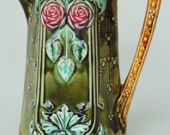 Frie Onnaing French Majolica Rare Collectible Pitcher Vase #776