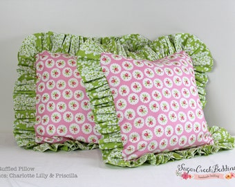 "Lilly  16"" Ruffled Pillow... Custom Bedding and Pillows at Sugar Creek Bedding"