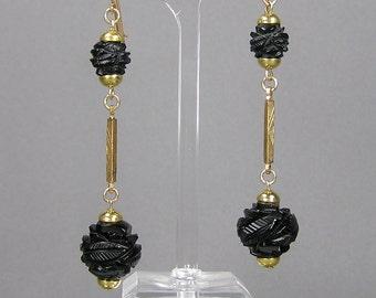 Whitby Jet Earrings, Carved Flower Beads, Genuine Antique Jet, Victorian, Edwardian, Long Dangle Earrings