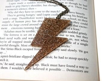 Gold glitter lightning bolt inspired by Harry Potter on short  bronze chain