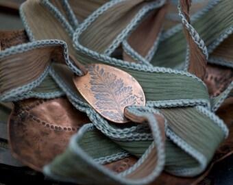 Copper Silk Bracelet, Fern Imprint Bracelet, Silk Wrap Bracelet, Copper Fern Emboss, Living Fossil