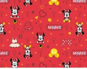 Camelot Fabrics. Mickey Mouse & Friends. Minnie in Ruby - BTY Cotton Fabric - Choose your cut