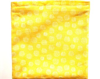 REDUCED PRICE Reusable Sandwich or Snack Bag: Yellow with White Dots, Ships free with other item