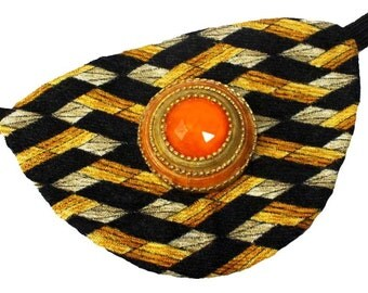 Eye Patch Sunburst Jewel Victorian Steampunk Pirate Fantasy Fashion Gold Orange