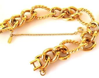 Vintage Gold Chain Bracelet MONET Chunky Modern Statement Boho Fantastic Fashion