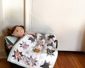 """ORGANIC DOLL QUILT baby blanket, changing pad, placemat, american girl 18"""" doll size toy"""