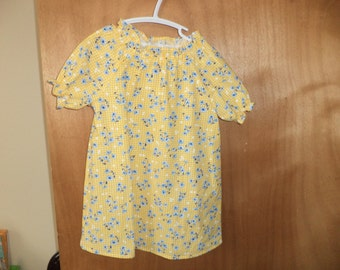 Peasant Dress, Spring Floral on Yellow Check, Cotton, Toddler Size 2T, Ready to Ship, Clearance Sale