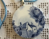 Round Pendant, Blue and White, English Country Scene, Broken China with Satin Cord, Sterling Silver Plate Bail, 1.5in, FREE SHIPPING, #101