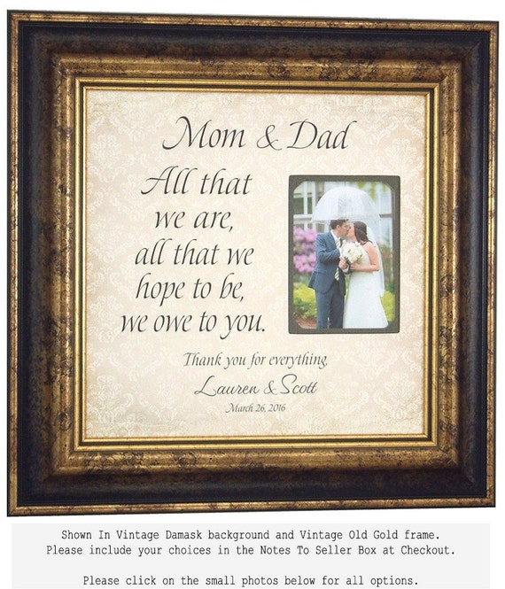 Wedding Frame Gift PARENTS Bride Groom Wedding sign picture frame ...