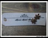 Stud Earrings Mini Stud Earrings Small Earrings Daisies Copper  Recycled Vintage Mixed Metal Mimi-E-022