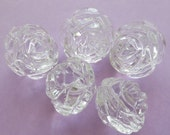 Acrylic Rose Bead - 24mm - Crystal Clear - 6 or 12 pcs