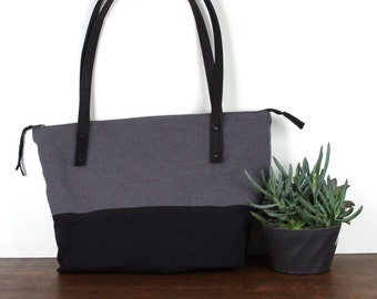 Zippered Tote - Over the Shoulder in Black & Grey