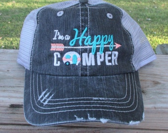 I'm A Happy Camper embroidered hat with camper