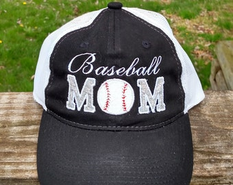 Baseball Mom Trucker hat Appliqued Embroidered