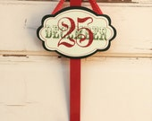 AG Designs Christmas Decor - Wreath Door Hanger Hook Glitter DECEMBER 25th