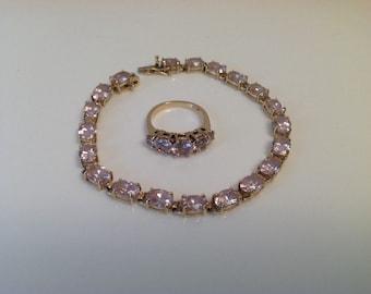 14k Yellow Gold Tennis Bracelet Ring Set Soft Topaz Pink Gemstones  Sz 6 Ring gorgeous lab created