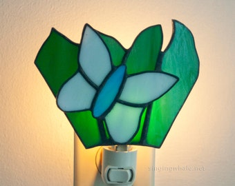 Stained Glass Butterfly Nightlight - white and blue with leaves