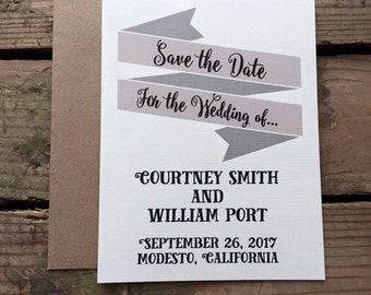 Save the Date Wedding Invitation, Rustic, Neutral Colors, Calligraphy Font, Recycled Materials, Magnet Optional