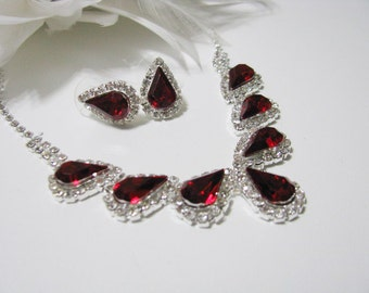 Deep Siam Red 2 piece set Wedding Necklace Bridal Necklace - Bridal Jewelry - Wedding Necklace - bridal set- Backdrop Bridal Necklace