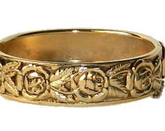 Victorian Revival Rose Bangle Bracelet
