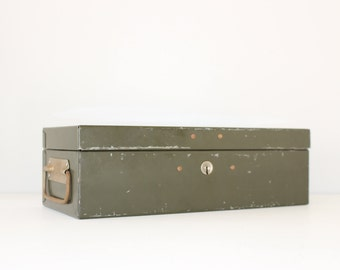 Vintage Olive Metal Storage Money Lock Box with Working Key