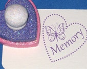 Butterfly Stamp, Personalized Girl's Butterfly Name Stamp, Girly Girl Gift, Pink and Purple, Tween Valentine, Pink Hearts, Flower Girl Gift