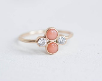 Coral + Diamond Cluster Ring | 14k Recycled Gold