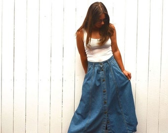 Denim Maxi Skirt 1980s Vintage Cherokee Ankle Length Button Up Pocket Jean Skirt Medium