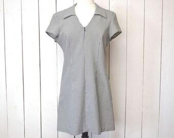 Gingham Print Dress Early 90s Black White Mini Dress Punk Grunge Vintage Cap Sleeve Dress Large XL