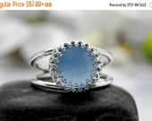 Blue chalcedony silver ring,delicate ring,crown ring,gemstone ring,semi precious ring,sterling silver 925
