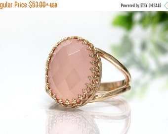 SUMMER SALE - rose gold ring,pink gold ring,chalcedony ring,oval stone ring,lace setting ring,prong setting ring,BBF ring
