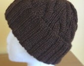 Chocolate Brown Cable Hand-Knit Hat. Super soft, for men or women- Ready to be Shipped