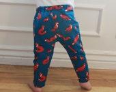 SALE Fox, Animal, Blue, Orange, White, Wild Life, Baby Boy, Girl, Unisex Knit Leggings Pants