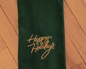 Happy Holidays cotton terry velour hand towel
