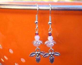 five dollar earrings, five dollar gifts, mistletoe earrings, holiday earrings, white earrings, made in Montana, jewellery, garnet