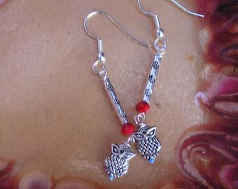 five dollar earrings, five dollar gifts, owl earrings, owls, owl, metal owl, Montana, metal beads, boho earrings, Czech glass beads